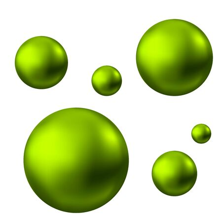 Green glossy sphere isolated on white background. Skin care oil bubbles. Pearl. Vector ball for natural cosmetic, shampoo package design.