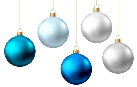 Realistic  blue, silver  Christmas  balls  isolated on white background. Vector  Xmas  tree decoration. Stock Illustratie