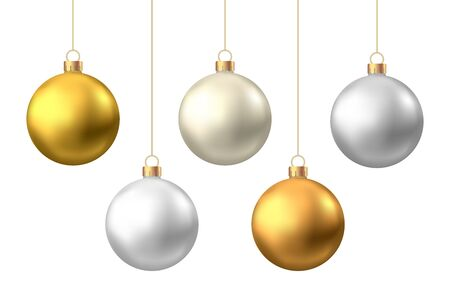 Realistic  gold, silver  Christmas  balls  isolated on white background. Vector  Xmas  tree decoration.