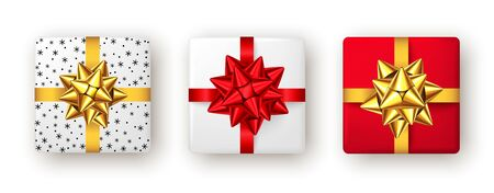 Gift box with red and golden ribbon and bow, top view. Christmas, New Year party, Happy birthday or Valentine day package design. Present isolated on white background. Vector.