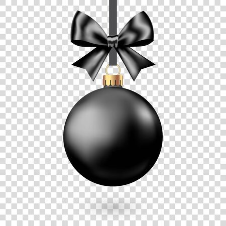 Realistic  black  Christmas  ball with bow and ribbon  isolated on white background. Vector  Xmas  tree decoration for Black Friday sale banner.