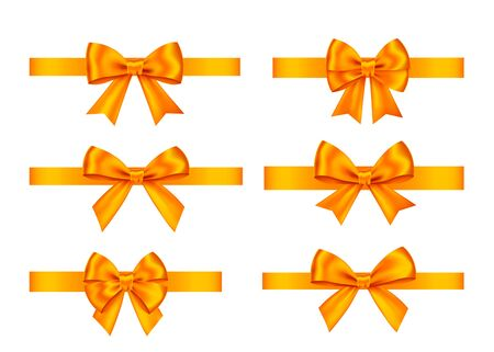 Orange  gift  bows set  isolated on white background. Christmas, New Year, birthday  decoration. Vector realistic decor element  for banner, greeting card, poster.
