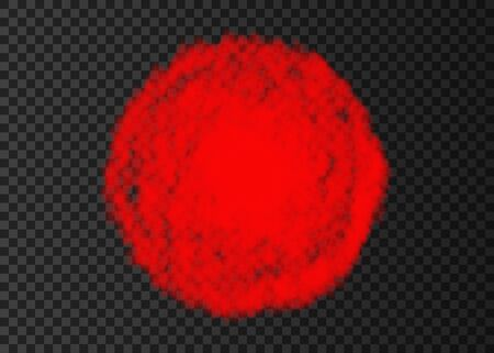 Explosion. Red smoke circle. Color spiral fog  track isolated on transparent background. Realistic vector cloud or steam   texture.