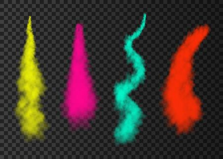 Color smoke from space rocket launch. Green, pink, red, yellow  foggy plane trail  isolated on transparent background. Fog.  Realistic vector texture. Stock Illustratie