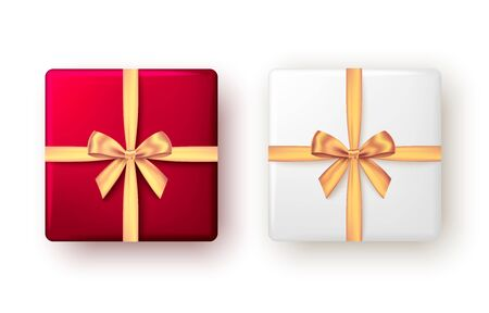 White and red gift box with golden ribbon and bow, top view. Christmas, New Year party, Happy birthday or Valentine day package design. Present isolated on white background. Vector. Ilustração
