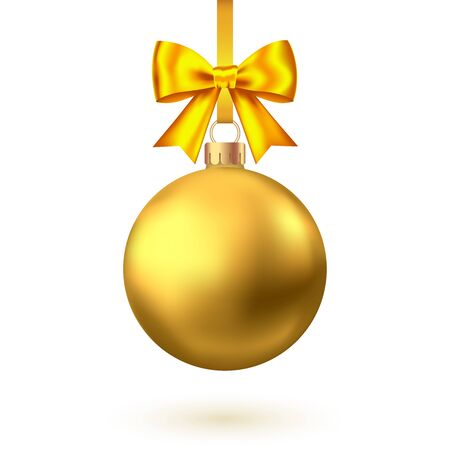 Realistic  gold  Christmas  ball with bow and ribbon  isolated on white background. Vector  Xmas  tree decoration. Stock Illustratie