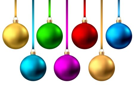 Realistic  red, gold, blue, green, purple  Christmas  balls  isolated on white background. Vector  Xmas  tree decoration.