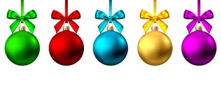 Realistic  gold, red, blue, purple  Christmas  balls  with bow and ribbon isolated on white background. Vector  Xmas  tree decoration. Stock Illustratie