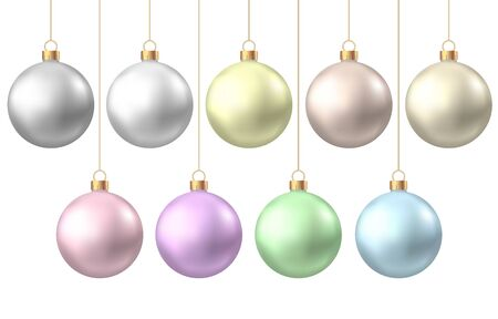 Realistic  gold, silver, blue, green, pink, purple  Christmas  balls  isolated on white background. Vector  Xmas  tree decoration.