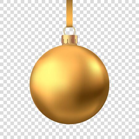 Realistic  gold  Christmas  ball  isolated on white background. Vector  Xmas  tree decor.