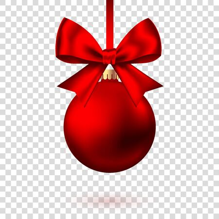 Realistic  red   Christmas  ball  with bow and ribbon isolated on white background. Vector  Xmas  tree decoration.