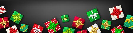 Gift box with green, red, white and golden ribbon and bow on black background, top view. Christmas, New Year party, Black Friday, Happy birthday package design. Present . Vector.