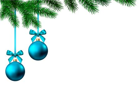 2020 happy New Year white  background with blue Christmas ball and spruce branch. Winter  holiday glitter decoration. Vector greeting card template.
