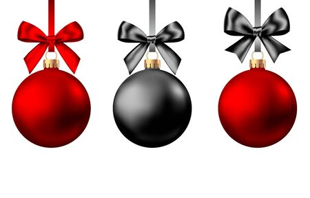 Realistic  red and black  Christmas  balls  with bow and ribbon isolated on white background. Vector  Xmas  tree decoration for Black Friday sale banner.