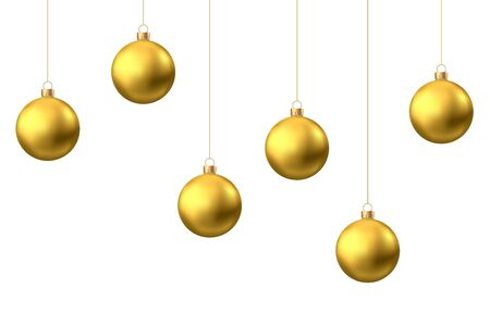 Golden  hanging Christmas balls isolated on white  background. Xmas realistic baubles decor. Vector gold holyday decorations.