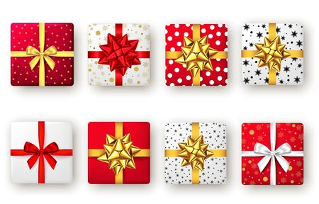 Red, golden, white and black gift box with ribbon and bow, top view. Christmas, New Year party, Happy birthday or Valentine day package design. Present isolated on white background. Vector.