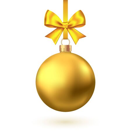 Realistic gold Christmas ball with bow and ribbon isolated on white background. Vector Xmas tree decoration.