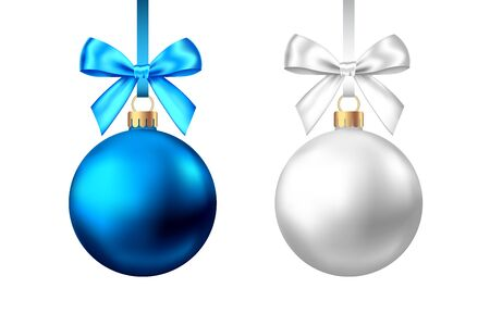 Realistic  blue, silver  Christmas  balls   with bow and ribbon isolated on white background. Vector  Xmas  tree decoration.