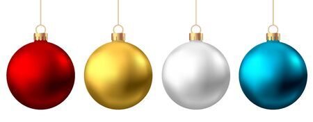 Realistic  red, gold, silver, blue   Christmas  balls  isolated on white background. Vector  Xmas  tree decoration.