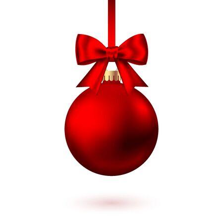 Realistyczne czerwone Boże Narodzenie piłka z kokardą i wstążki na białym tle. Wektor ozdoba choinkowa.