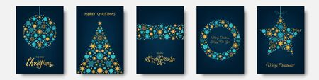 Christmas tree, ball with  gold, blue  holiday pattern from snowflakes, xmas elements and decorations. Vector flat illustration for greeting card, poster or invitation. Stock Illustratie