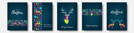 Christmas and Happy New Year pattern.  Polygonal Xmas  reindeer and  snowflakes. Bright colorful  tree decoration on blue background.Vector template  for cover,  greeting  card. Stock Illustratie
