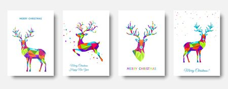 Christmas and Happy New Year pattern.  Polygonal Xmas  reindeer and  snowflakes. Bright colorful  tree decoration on white background.Vector template  for cover,  greeting  card.