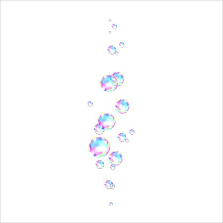 Realistic transparent colorful soap  bubbles with rainbow reflection isolated on white  background. Vector texture. Stock Illustratie
