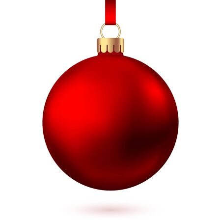 Realistic  red   Christmas  ball  isolated on white background. Vector  Xmas  tree decoration. Stock Illustratie