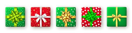 Gift box with green, red and golden ribbon and bow, top view. Christmas, New Year party, Happy birthday or Valentine day package design. Present isolated on white background. Vector.
