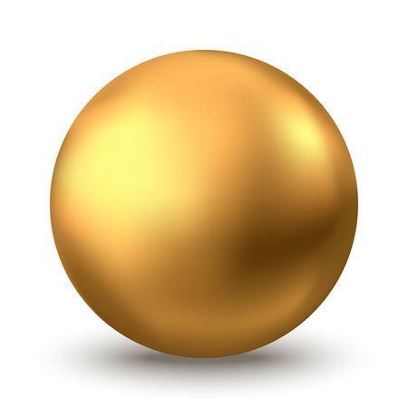 Złota kula. Bańka oleju na białym tle. Złota błyszcząca kula 3d lub drogocenna perła. Żółte krople surowicy lub kolagenu. Element dekoracji wektor pakiet kosmetyczny do pielęgnacji skóry. Ilustracje wektorowe