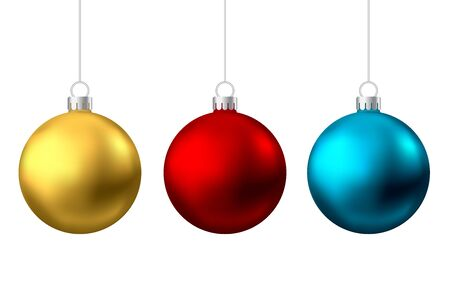Realistic  gold, red, blue  Christmas  balls  isolated on white background. Vector  Xmas  tree decoration. Stock Illustratie