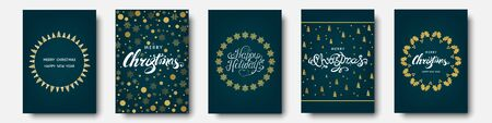 Christmas greeting card with  gold, blue  holiday pattern from snowflakes, xmas elements and decorations. Vector flat illustration for  poster or invitation.