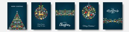 Christmas tree, ball with  gold, red, blue  holiday pattern from snowflakes, reindeer, xmas elements and decorations. Vector flat illustration for greeting card, poster or invitation.