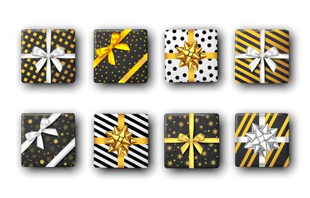Black and white gift box with silver and golden ribbon and bow, top view. Christmas, New Year party, Happy birthday package design. Present. Vector. Stock Illustratie