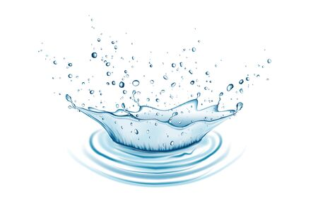 Blue water splash and drops isolated on white background. Aqua crown. Vector illustration.