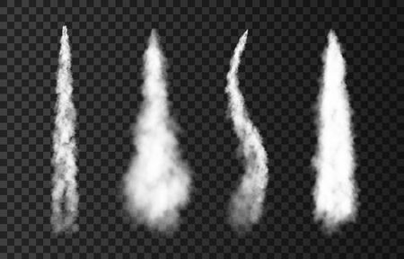 Smoke from space rocket launch. Foggy trail airplane or jet. Plane condensation track isolated on transparent background. Realistic vector effect. Vektorgrafik