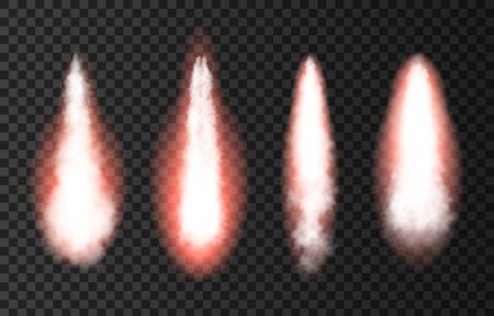 Flame and smoke from space rocket launch. Fire, comet or meteor on transparent background. Spaceship take off. Plane jets track or ship trail. Vector light effect.