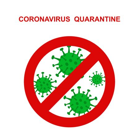 coronavirus 2019 and red stop Cov prohibition sign.   Caution  2019-nCoV virus. COVID-2019  disease outbreak. Prevent dangerous  infection. Antiviral vaccine icon. Vector warning emblem illustration.  イラスト・ベクター素材