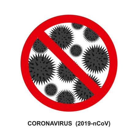 coronavirus 2019 and red stop Cov prohibition sign.   Caution  2019-nCoV virus. COVID-2019  disease outbreak. Prevent dangerous  pandemic. Antiviral vaccine icon. Vector warning emblem illustration.