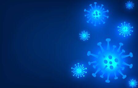 novel respiratory coronavirus 2019 isolated on blue background. Stop  2019-nCoV virus. COVID-2019  disease outbreak. Prevent dangerous Cov infection. Vector antiviral vaccine illustration.