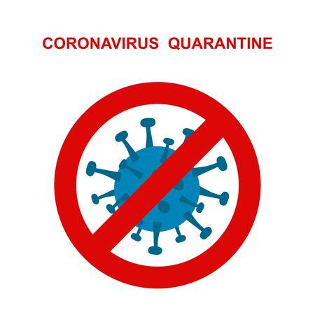 novel respiratory coronavirus 2019 and red stop Cov prohibition sign.   Caution  2019-nCoV virus. COVID-2019  disease outbreak. Prevent dangerous  pandemic. Antiviral vaccine icon. warning emblem illustration.