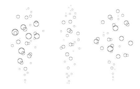 Underwater fizzing air, water or oxygen  bubbles on white  background. Effervescent drink. Fizzy sparkles in sea, aquarium. Champagne. Soda pop. Undersea vector texture. 일러스트