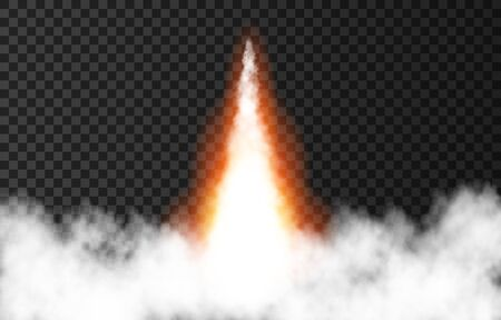 Flame and smoke from space rocket launch. Fire, comet or meteor on transparent background.  Spaceship take off. Plane jets track or ship trail. Vector light effect. 일러스트