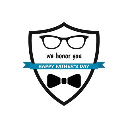 Happy Father's Day label. We honor you. Glass, bow tie. Flat style vector  and emblem for greeting card, t-shirt design.