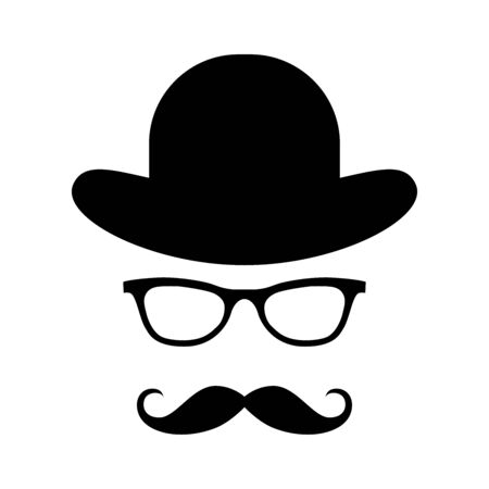 Glass, hat, mustache. Happy Father's Day labels. Flat style vector logo and emblems for barbershop, greeting card, men's club, t-shirt design.