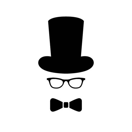 Happy Father's Day  . Bow tie, glass, hat. Flat style vector  and emblems for greeting card, men's club, t-shirt design.