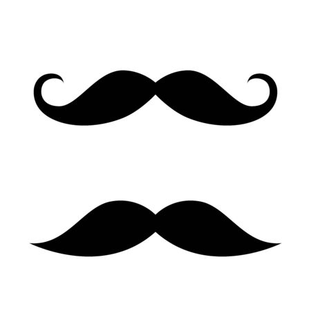 Mustache set. Happy Father's Day. Flat style vector silhouette for barbershop, t-shirt design.