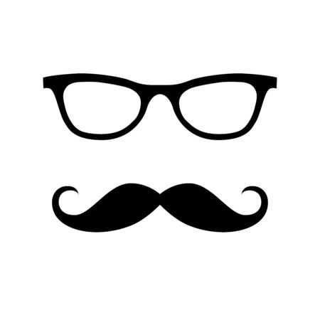 Glass, mustache. Happy Father's Day labels. Flat style vector  and emblems for barbershop, greeting card, men's club, t-shirt design.