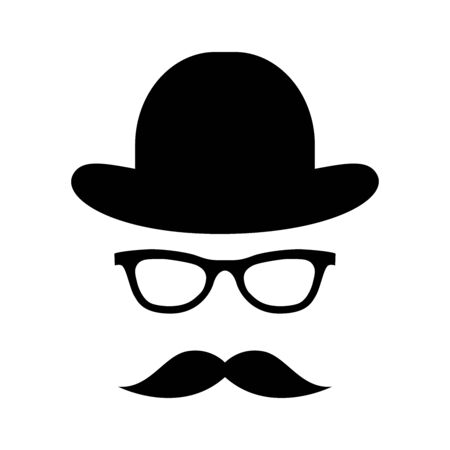 Glass, hat, mustache. Happy Father's Day labels. Flat style vector  and emblems for barbershop, greeting card, men's club, t-shirt design.